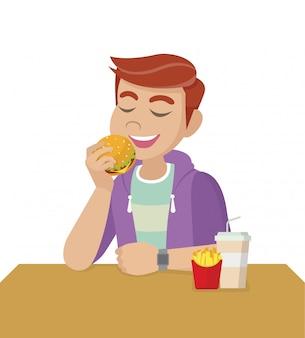 漫画のキャラクターのポーズ、不健康な食事と間違ったライフスタイルの概念。男はファーストフードを食べています。