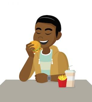 漫画のキャラクターのポーズ、不健康な食事と間違ったライフスタイルの概念。アフリカ人はファーストフードを食べています。