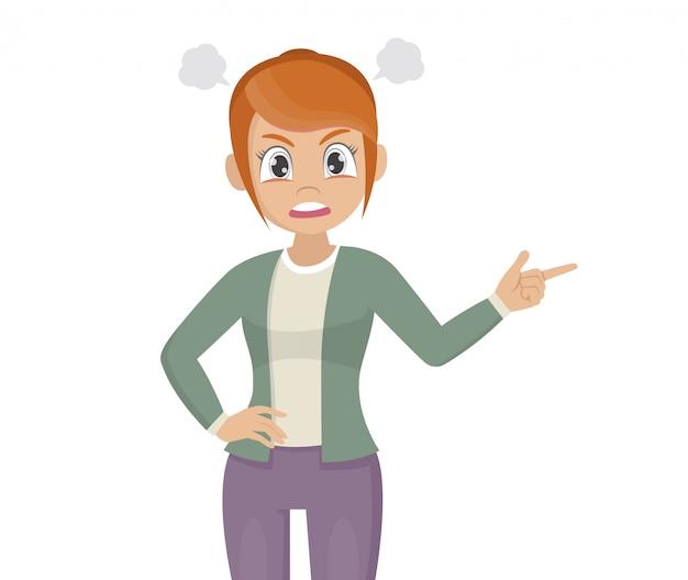 機嫌が悪い女性は叫び、彼女の指のイラストを指しています。
