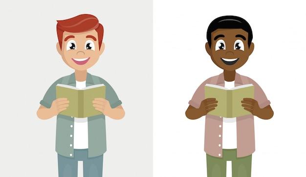 若い男は本を読んでいます。流行に敏感な人持株教科書。男性キャラクターデザインイラスト。