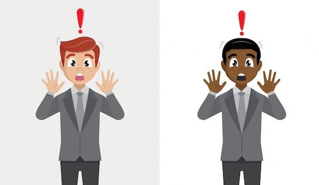 ビジネスの男性は、ショックを受けた、恐れて、怖がって、おびえた。