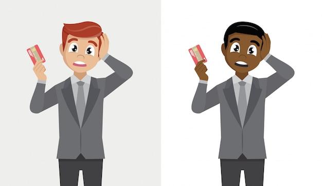 デジタル決済カードを持っている人。実業家は間違いのために頭の上の手でショックを受けた、