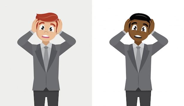 Выражения лица, эмоции и язык тела. шокирован молодой бизнесмен, держа голову руками.