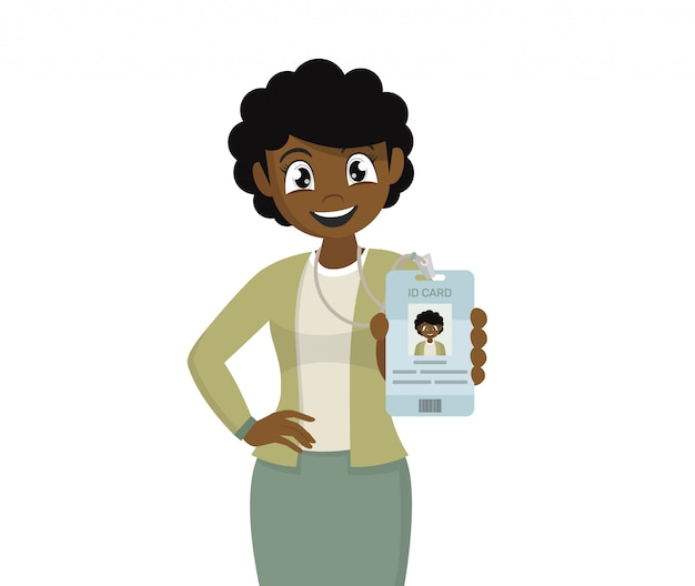 Африканский бизнес женщина его тег значок удостоверения личности.