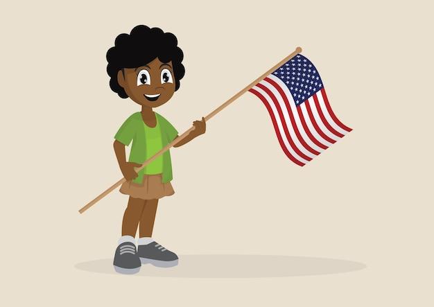 アメリカの旗を掲げているアフリカの女の子。