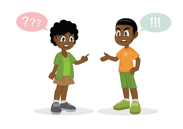紛争。アフリカの少年と少女の喧嘩。