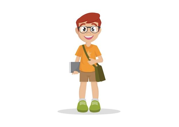 学校の少年眼鏡本の学生。