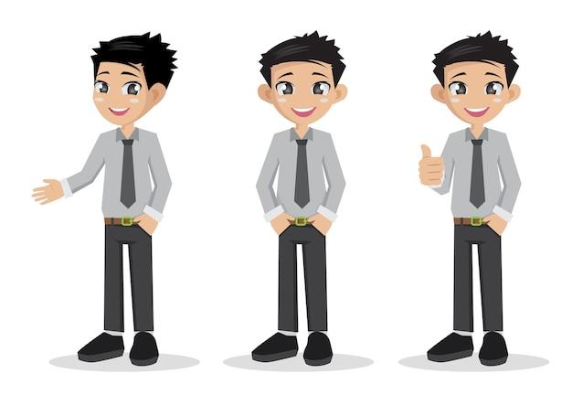 面白い若い男のビジネスマンを設定します。