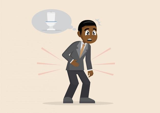 アフリカのビジネスマンはトイレに行きたい。