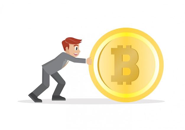 ビジネスマンは大きなビットコインをプッシュします。