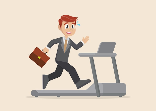 ビジネスマンはトレッドミルで走っています。