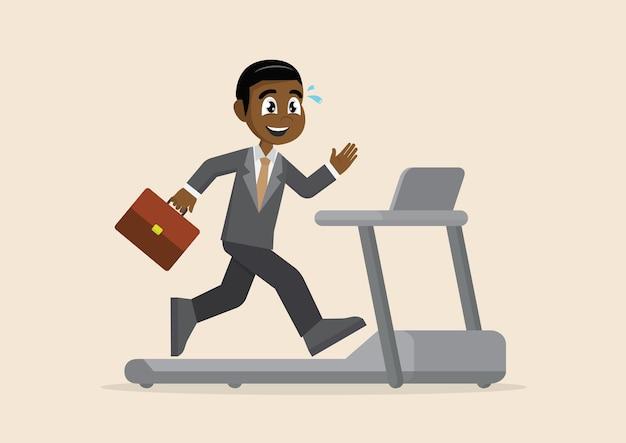 アフリカのビジネスマンは、トレッドミルで実行しています。