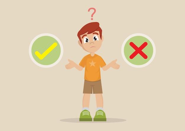 Выбор мальчика между правильным или неправильным