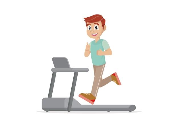 トレッドミルで走っている男。