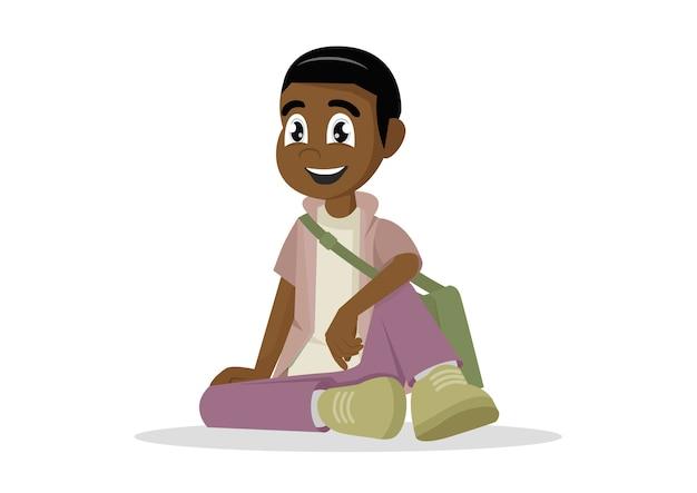 アフリカ、男、学生、床に座っている