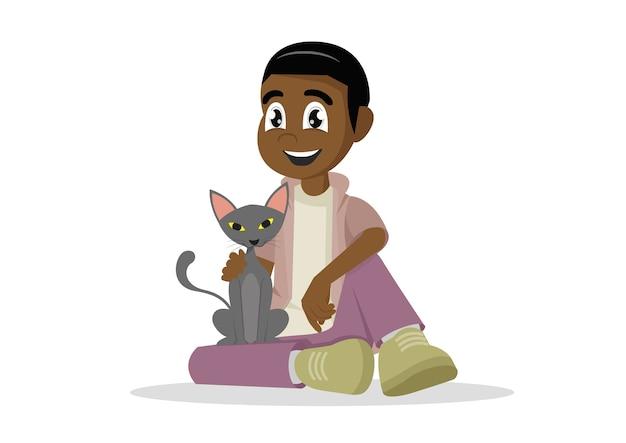アフリカンボーイと彼の猫。