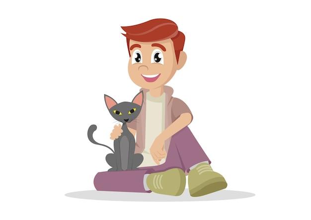 少年と彼の猫。