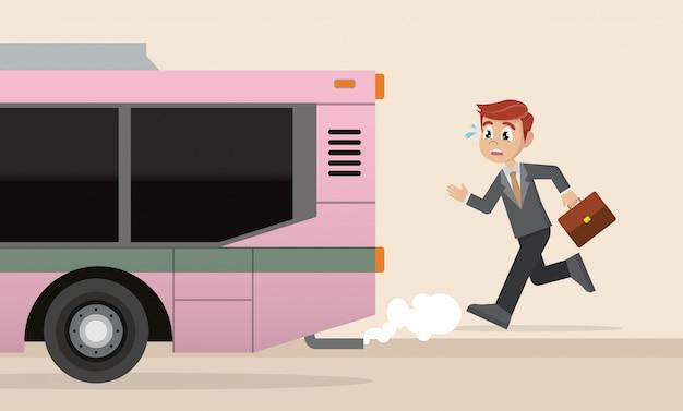ビジネスマンは往路のバスを走っています。