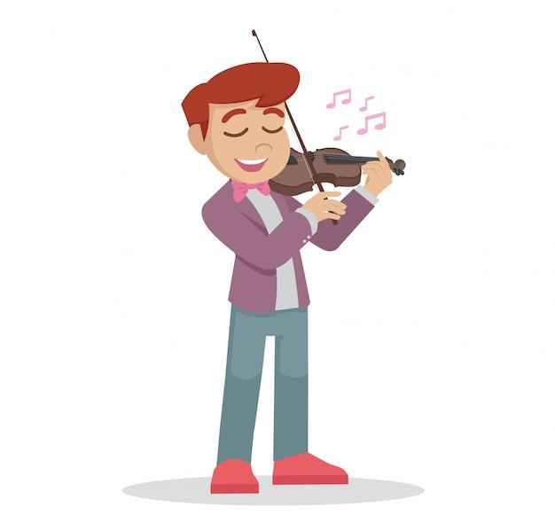 バイオリンを弾いている少年。