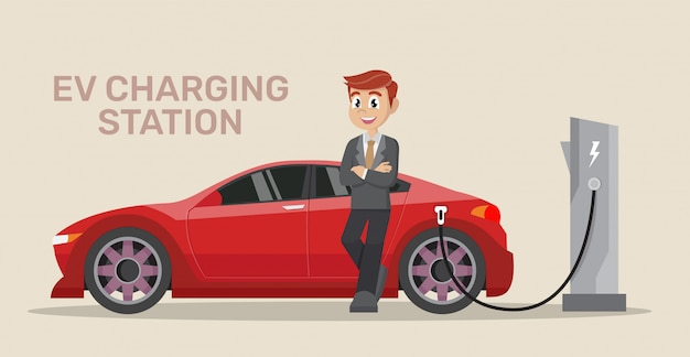 ビジネスマン電気自動車の充電。