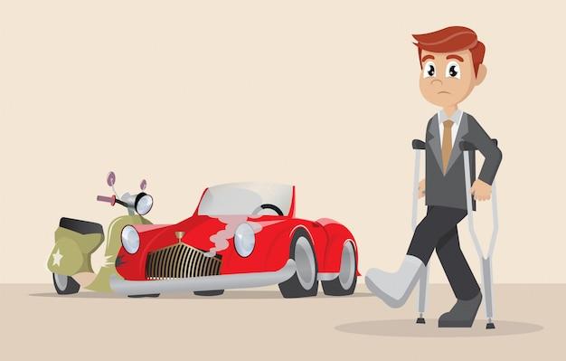ビジネスマンの事故はオートバイを傷つけます。