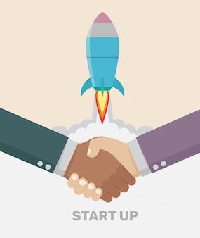 ハンドシェイク取引ビジネス概念を起動します。