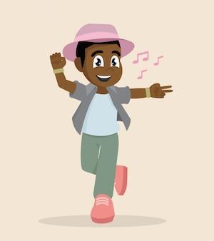 アフリカの少年が踊る。