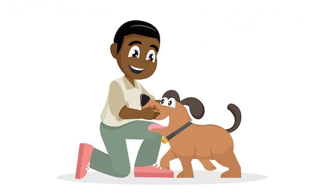 子供は愛情をこめて彼のペットを抱きしめます。