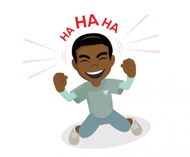 アフリカの少年が笑っています。
