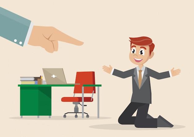 漫画のキャラクター、実業家の手が選択した男をポイントします。