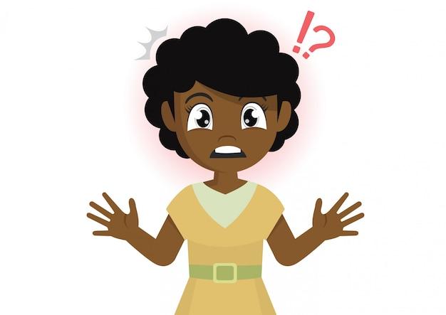 アフリカの女の子はショックを受けます。