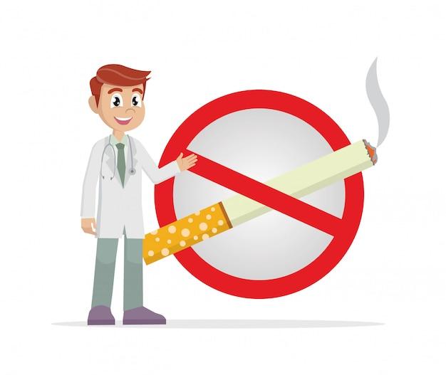 禁じられたタバコのサインを持つ医師。