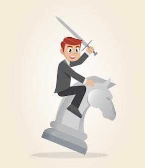 Бизнесмен верхом на шахматной лошади с мечом.