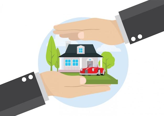 Рука бизнесмена держа обслуживание страхования жилья