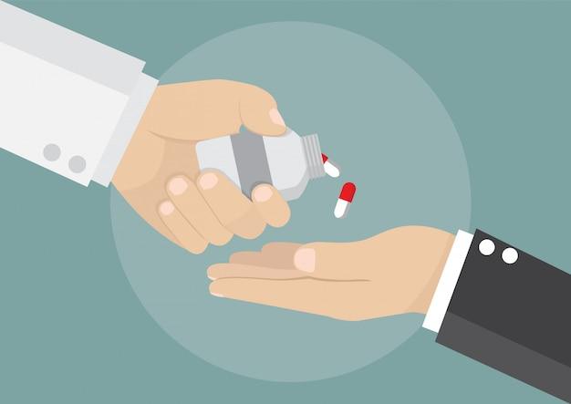 Бизнесмен получает лекарство от врача