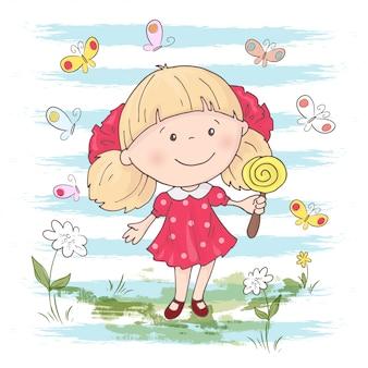 Иллюстрация милый мультфильм девочка с игрушкой