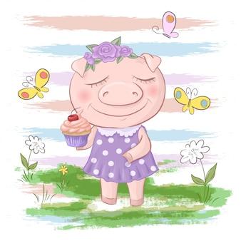 かわいい豚の花と蝶のイラスト。漫画のスタイル