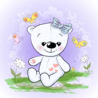 かわいいシロクマの花と蝶。漫画のスタイル