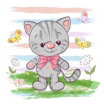 花と蝶のかわいい小さな猫のイラスト。服や子供部屋用に印刷する
