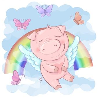 Иллюстрация милого шаржа свиньи на радуге. вектор