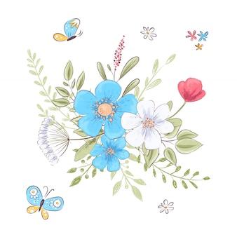 Набор полевых цветов и бабочек. рука рисунок. векторная иллюстрация