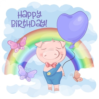 かわいいブタ漫画虹の誕生日グリーティングカード