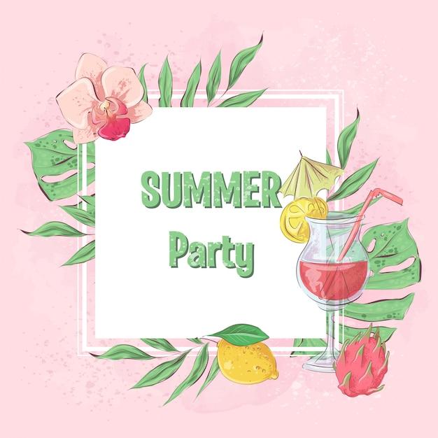 カクテルアイスクリームとトロピカルフルーツの夏のパーティー。ベクトルイラスト