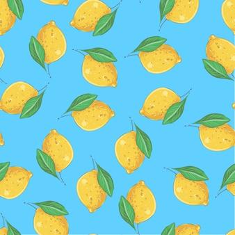 シームレスパターンの黄色いレモン。ベクトルイラスト