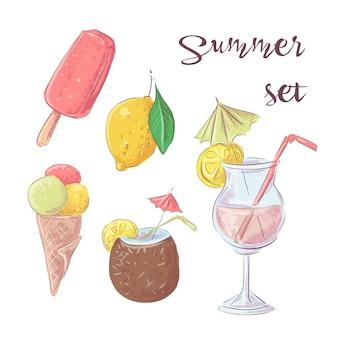 カクテルアイスクリームとトロピカルフルーツのセット。ベクトルイラスト