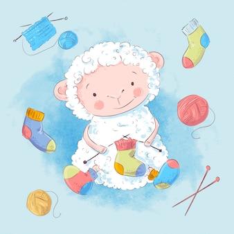 ポスターかわいい羊と編み物用アクセサリー。手描き。ベクトルイラスト漫画のスタイル