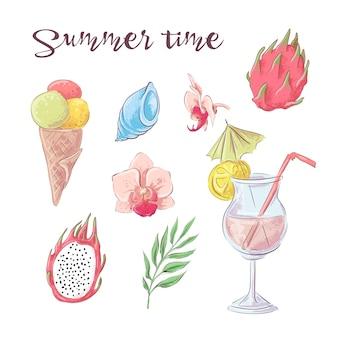 Набор коктейль мороженого и тропических фруктов. векторная иллюстрация