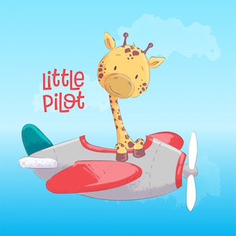 Маленький пилот. милый жираф летать на самолете. мультяшный стиль вектор