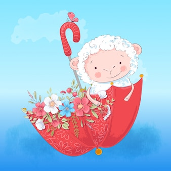 かわいい子羊の傘と花。ベクトルイラスト漫画のスタイル