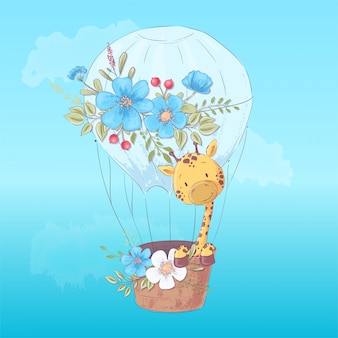 Иллюстрация для детской комнаты - милый жираф на воздушном шаре